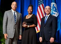 On October 23, 2014 Secretary Jeh Johnson and Deputy Secretary Alejandro Mayorkas awarded the Secretary's Award for Volunteer Service 2014 to Bianca M. Phillips for giving selflessly to improve the lives of others by serving as a volunteer fire fighter in her community.