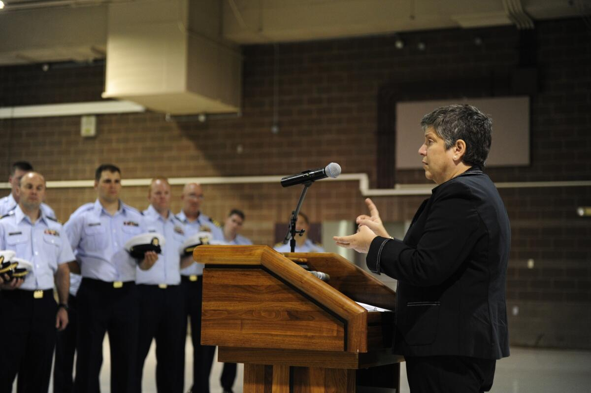 Secretary Napolitano speaks to an audience of DHS personnel
