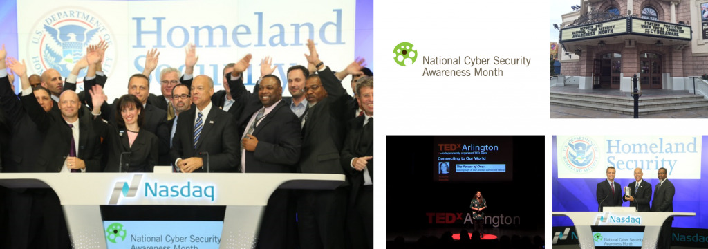 Image of National Cyber Security Awareness Month logo, Nasdaq logo with people waving in front of Homeland Security logo, several different images
