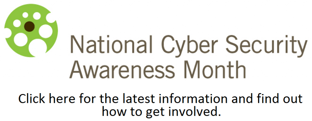 National Cyber Security Awareness Month logo and text
