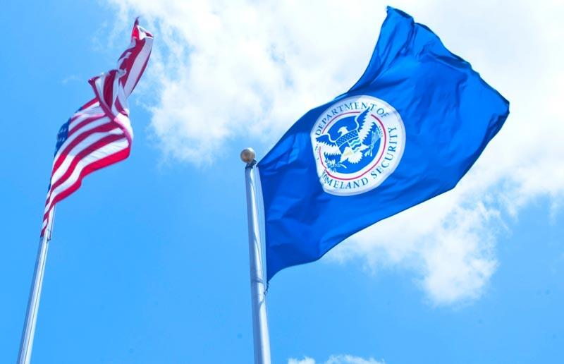 US and DHS flags