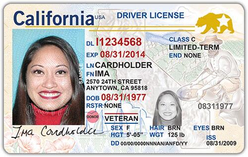 Example of REAL ID from California