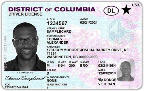 Example of REAL ID from the District of Columbia