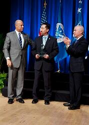 On October 23, 2014 Secretary Jeh Johnson awarded the Secretary's Award for Valor for extraordinary heroism to Perry Woo, U.S. Immigration and Customs Enforcement, for saving the life of a fellow agent and preventing harm to others by detaining an individual who shot another employee during a counseling session.