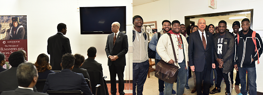 Secretary Johnson talks with students and faculty at Morehouse College (DHS Photo/Barry Bahler)