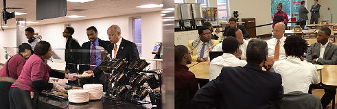 Secretary Johnson joins students at Morehouse College for breakfast (DHS Photo/Barry Bahler)