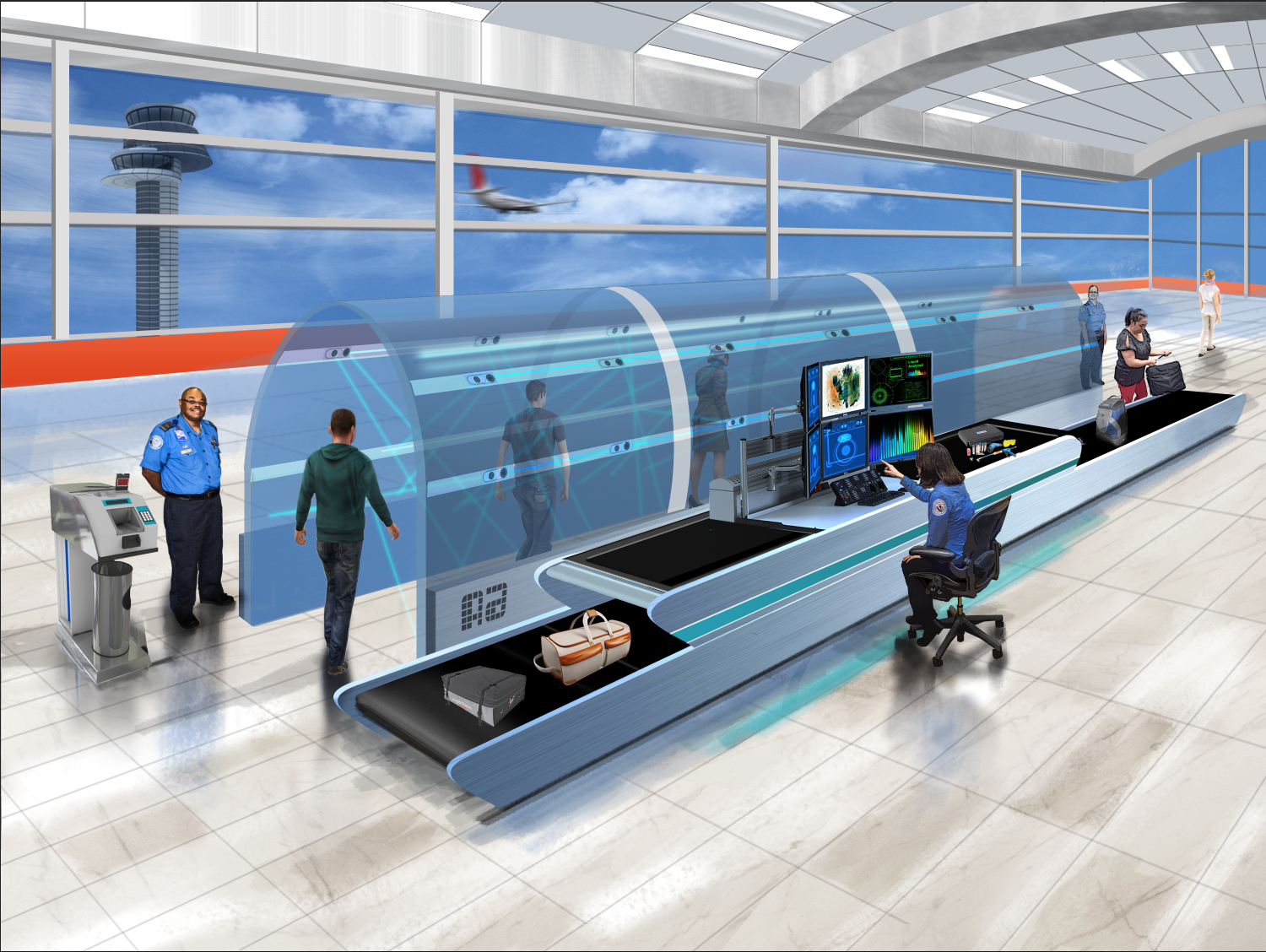 Graphic rendition of airport check point in the future.