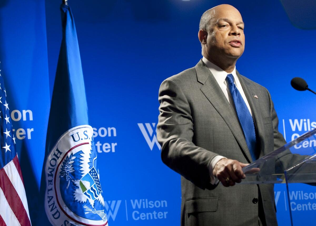 Secretary Johnson delivers a speech at the Wilson Center.