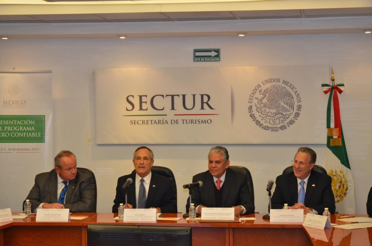 DHS and Mexican officials participate in a panel discussion.