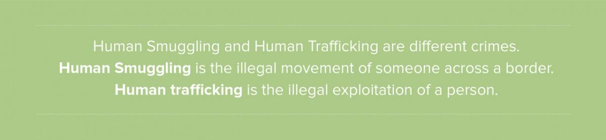Human Smuggling and Human Trafficking are different crimes.  Human smuggling is the illegal movement of someone across a border.  Human trafficking is the illegal exploitation of a person.