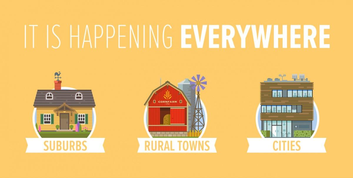 It is happening everywhere - suburbs, rural towns, cities