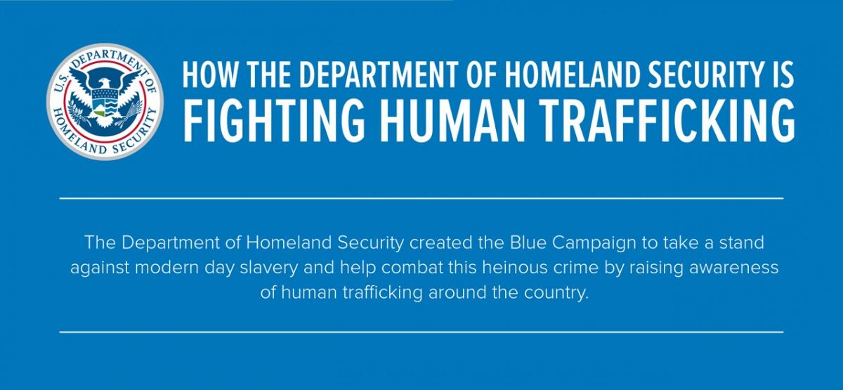 How the Department of Homeland Security is fighting human trafficking. The Department of Homeland Security created the Blue Campaign to take a stand against modern day slavery and help combat this heinous crime by raising awareness of homan trafficking around the country.