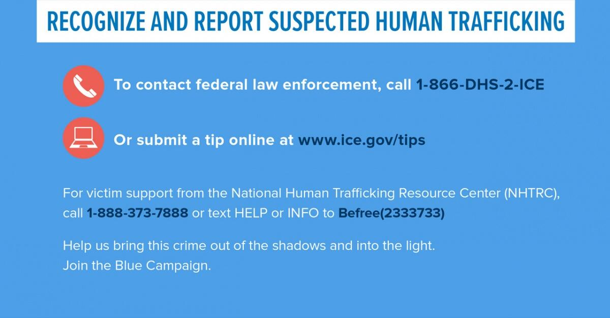 Recognize and report suspected human trafficking.  To contact federal law enforcement, call 1-866-DHS-2-ICE.  Or submit a tip online at www.ice.gov/tips.  For victim support from the National Human Trafficking Resource Center (NHTRC), call 1-888-373-7888 or text HELP or INFO to Befree(233733). Help us bring this crime out of the shadows and into the light. Join the Blue Campaign.