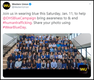 joins us in wearing blue this Saturday, Jan. 11, to help @DHSBlueCampaign bring awareness to & end #humantrafficking. Share you photo using #WearBlueDay.