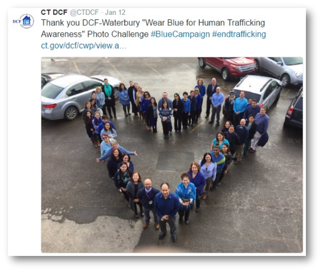 "Thank you DCF-Waterbury ""Wear Blue for Human Trafficking Awareness"" Photo Challenge #BlueCampaign #endtrafficking ct.gov/dcf/cwp"
