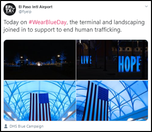El Paso Intl Airport. Today on #WearBlueDay, the terminal and landscaping joined in to support to end human trafficking