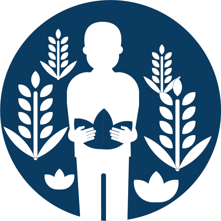 Labor trafficking icon that features a person picking crops.