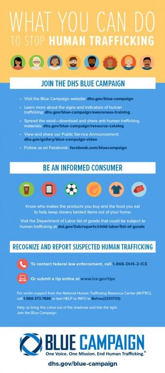 What you can do to stop human trafficking. *** Join the DHS Blue Campaign.  Visit the Blue Campaign website: dhs.gov/blue-campaign.  Learn more about the signs and indicators of human trafficking: dhs.gov/blue-campaign/awareness-training.  Spread the word - download and share anti-human trafficking materials: dhs.gov/blue-campaign/resource-catalog.  View and share our Public Service Announcement: dhs.gov/blue-campaign-video. Follow us on Facebook: facebook.com/bluecampaign *** Be an informed consumer. Know who makes the products you buy and the food you eat to help keep slavery tainted items out of your home.  Visit the Department of Labor list of goods that could be subject to human trafficking at dol.gov/ilab/reports/child-labor/list-of-goods *** Recognize and report suspected human trafficking. To contact federal law enforcement, call 1-866-DHS-2-ICE.  Or submit a tip online at www.ice.gov/tips. For victim support from the National Human Trafficking Resource Center (NHTRC), call 1-888-373-7888 or text HELP or INFO to Befree(233733). Help us bring this crime out of the shadows and into the light. Join the Blue Campaign. *** Blue Campaign. One Voice. One Mission. End Human Trafficking. dhs.gov/blue-campaign