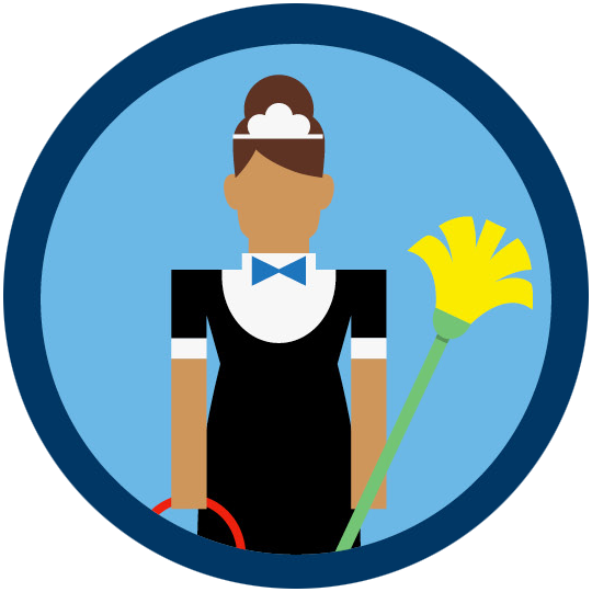 A woman in a housekeeping uniform holding a bucket and mop.