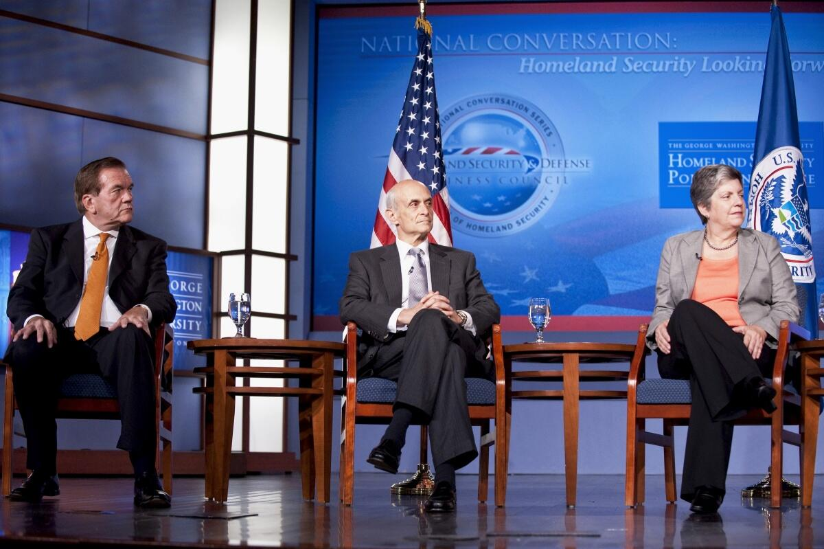 The three previous DHS Secretaries sitting with each other, from left to right: Tom Ridge, Michael Chertoff, and Janet Napolitano.