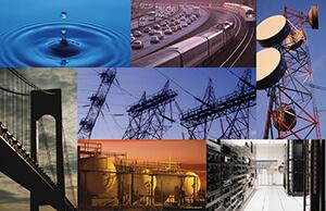 drop of water hitting a body of water sending ripples out for the Water and Wastewater Sector; highway with cars beside train tracks with trains for the Transportation Systems Sector; antenna for the Communications Sector; server room for the Information and Technology Sector; storage tanks for the Chemical Sector; suspension bridge for the Transportation Systems Sector; and electric wires and electricty towers for the Energy Sector.