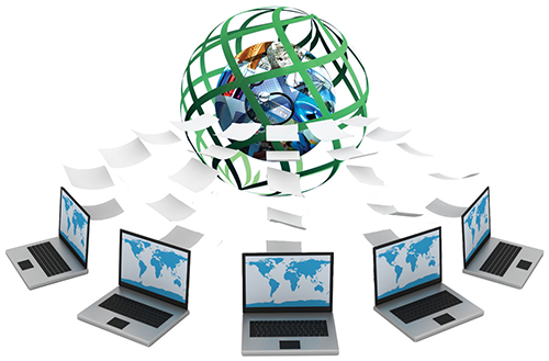 In the center of the graphic is the PCII logo, a sphere composed of images of various critical infrastructure sectors surrounded by a weave of green lines that form protective barrier around the critical infrastructure. Five laptop computers with a picture of all the continents on their screens surround the PCII logo. Pieces of paper are flying from the computers to the PCII logo.
