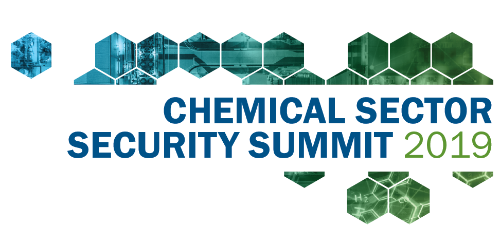 Banner image with text that reads the Chemical Sector Security Summit 2019 surrounded by blue and green hexagons.