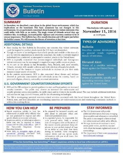 Example NTAS Bulletin