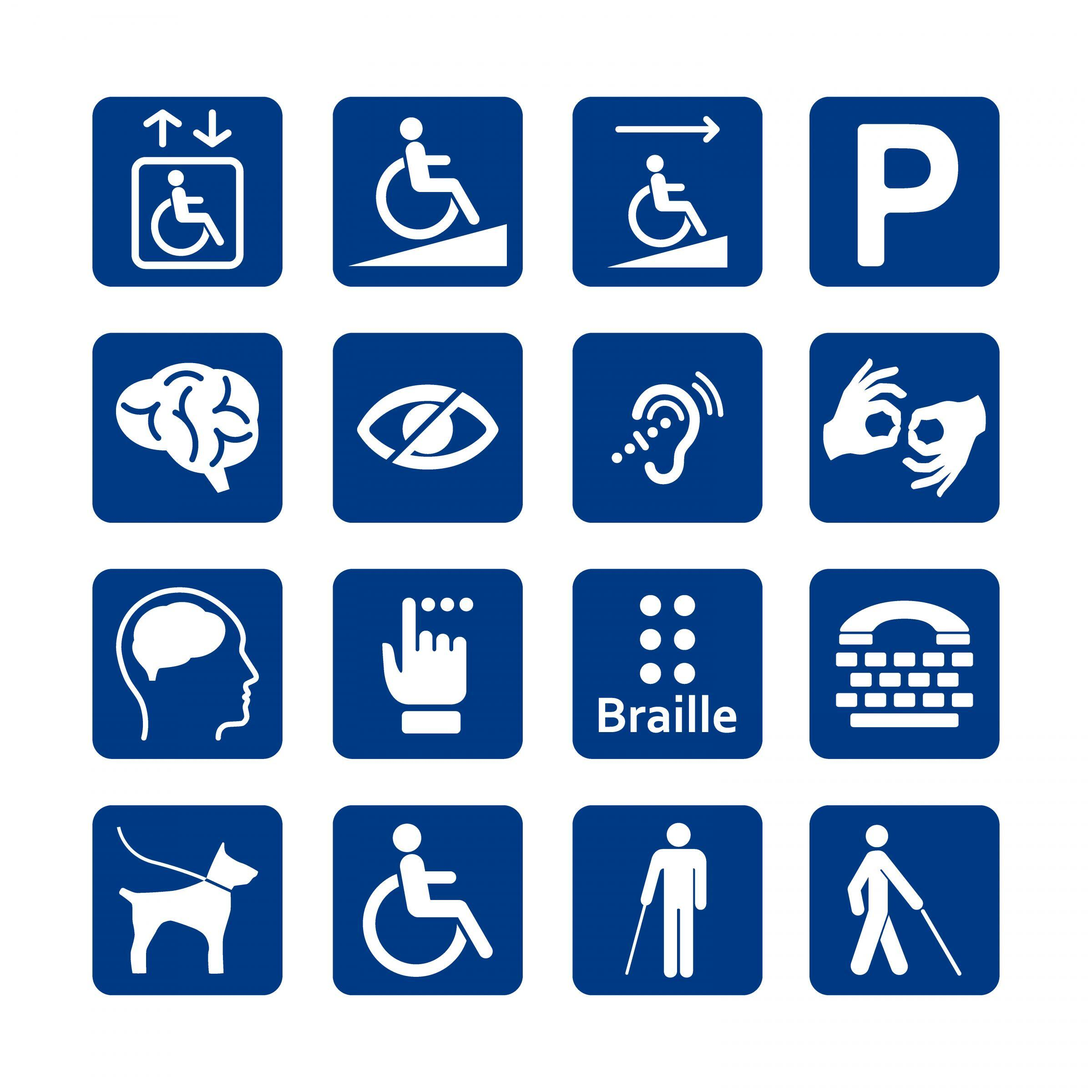 Blue square set of disability icons