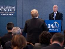 DHS Deputy Secretary Alejandro Mayorkas speaking at a National Press Club event
