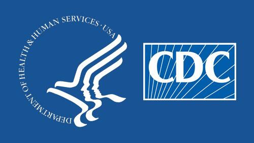 The CDC co branded logo with US Department of health and human services. Background is ocean blue with an minimalist illustration of an eagle in the DHS logo
