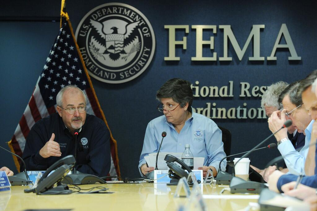 DHS officials in the National Response Coordination Center