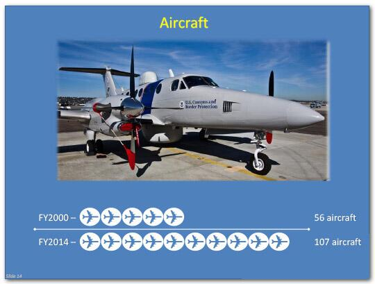 In fiscal year 2000, 56 aircraft were in use. In fiscal year 2014, 107 aircraft were in use.