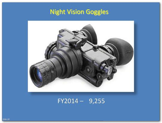 As of fiscal year 2014, 9,255 night vision goggles are in use