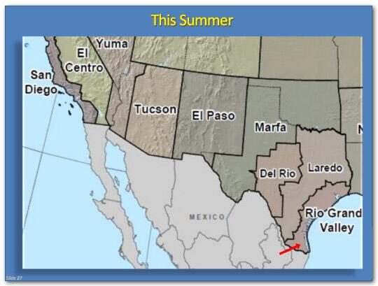 "A map of the southwest border region entitled ""This Summer"" showing a red arrow pointing from Mexico into the Rio Grande Valley of southeastern Texas"
