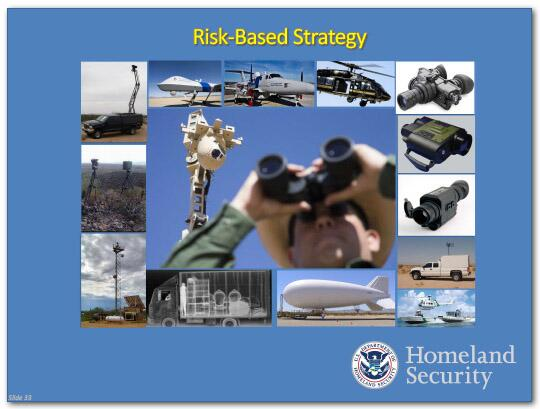 Risk-Based Strategy slide: Shows photos of various vehicles, tools and resources used by DHS to protect the border