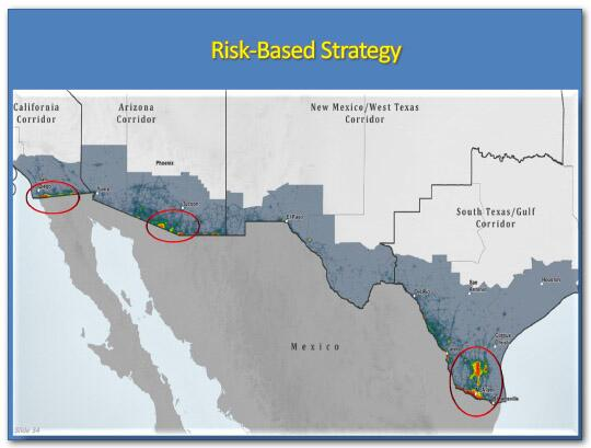 Risk-Based Strategy slide: Shows a heat map of the southwest border with hot spots circled by red circles. One is in Southeast Texas, one is on the Arizona border, and one is on the California border