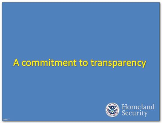 A commitment to transparency