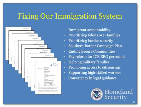 Fixing Our Immigration System: Immigrant accountability, Prioritizing felons over families, Prioritizing border security, Southern Border Campaign Plan, Ending Secure Communities, Pay reform for ICE ERO personnel, Helping military families, Promoting access to citizenship, Supporting high-skilled workers, Consistency in legal guidance.
