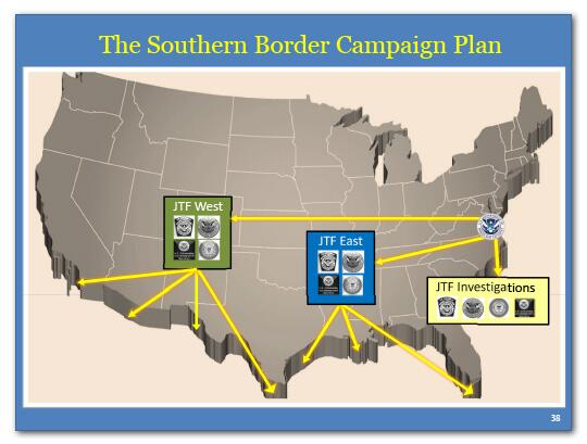 The Southern Border Campaign Plan: JTF West, JTF East, JTF Investigations.