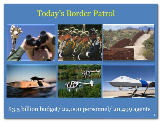 Today's Border Patrol has a 3.5 billion dollar budget, 22,000 personnel and 20,499 agents.