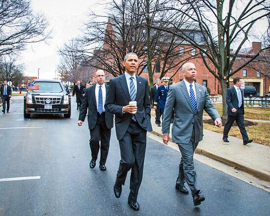 President Barack Obama visited the NAC on February 2, 2015, to announce the FY 2016 Budget Request.  Accompanied by Secretary Jeh Johnson, President Obama walked along Seminary Way to Building 12, the Gymnasium, where the event was held. (DHS Photo, Jetta Disco)