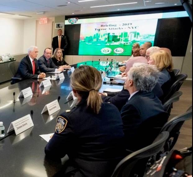 On Sept. 19, Department of Homeland Security Under Secretary for Intelligence and Analysis (I&A) and Chief Intelligence Officer David J. Glawe accompanied the Vice President of the United States Mike Pence in New York City, New York to meet with the New York Police Department (NYPD) and thank them for their continued service.
