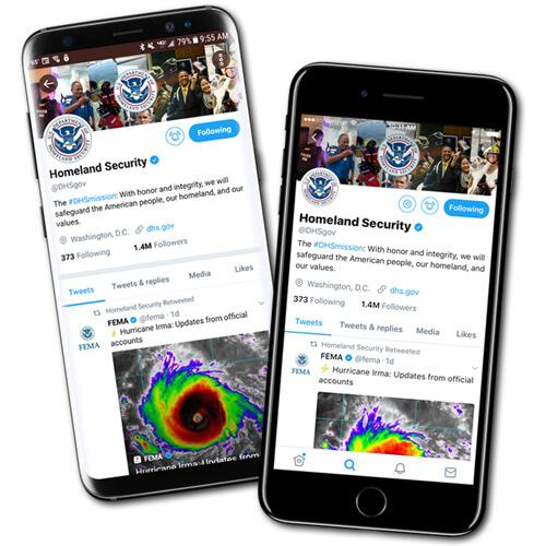 Image of Android and Apple phones with the DHS Twitter account on the screen