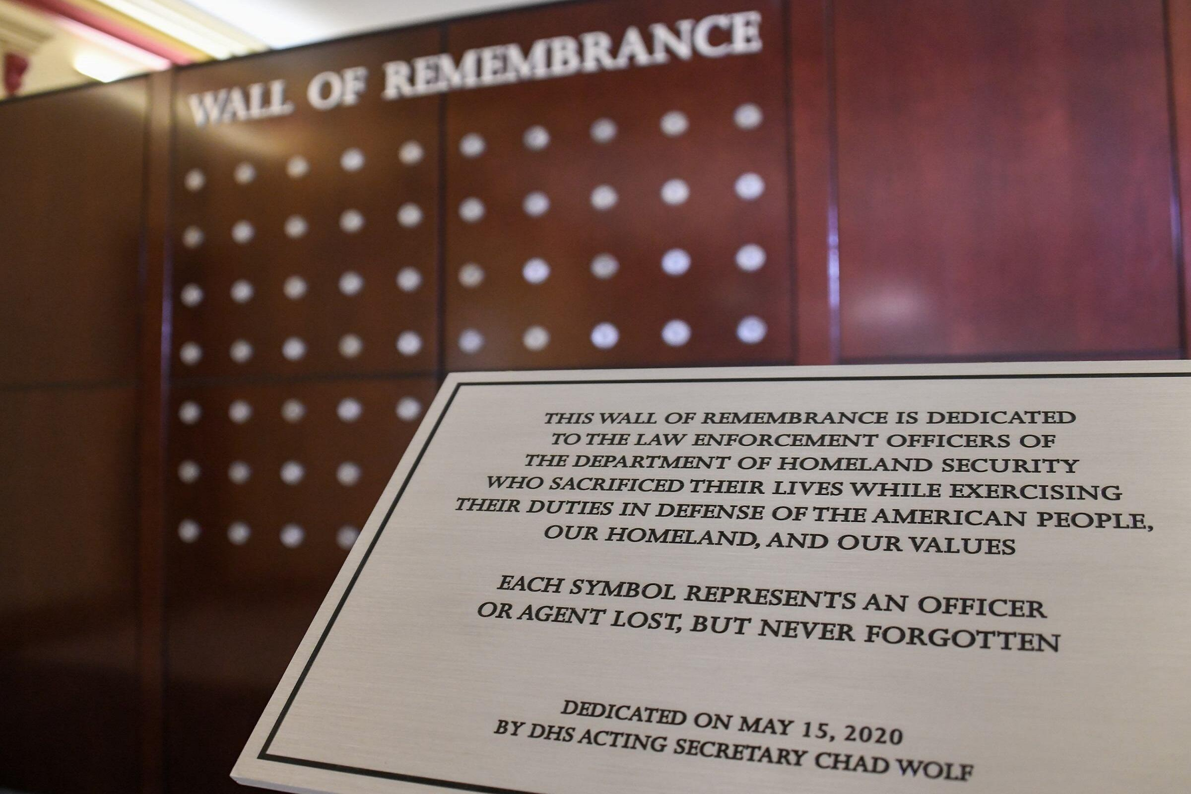 Wall of Remembrance, DHS headquarters