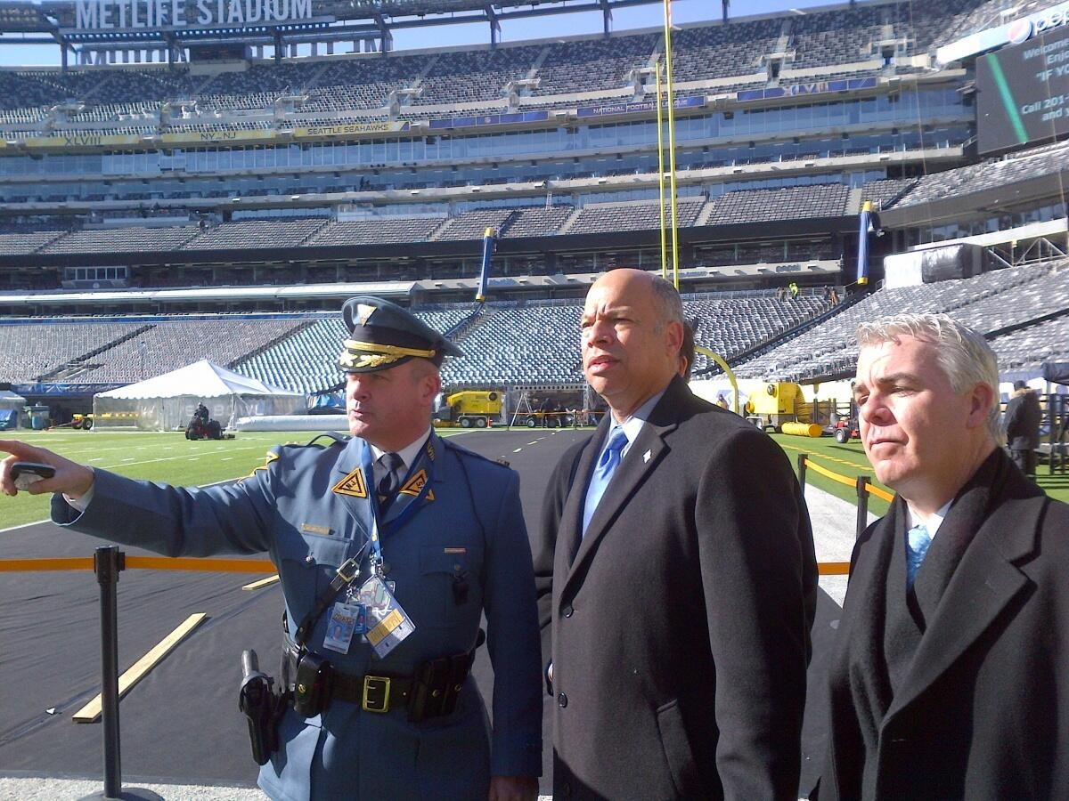 Secretary Jeh Johnson visited MetLife Stadium in East Rutherford, N.J. yesterday to tour security operations for Super Bowl XLVIII.