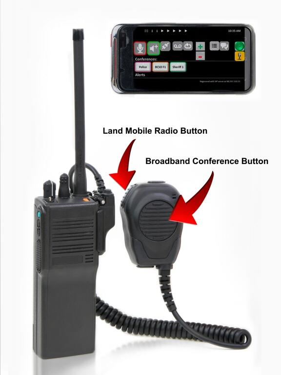 A land mobile radio, the kind police use, and a smart phone are shown. Buttons or apps make them interchangeable for responders.