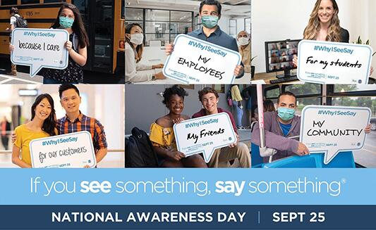 If You See Something, Say Something National Awareness Day Sept 25th