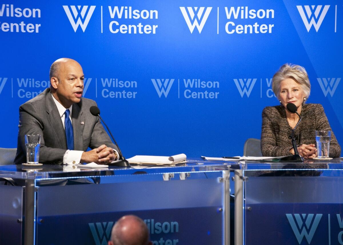 Secretary Johnson participates in a conversation at the Wilson Center.