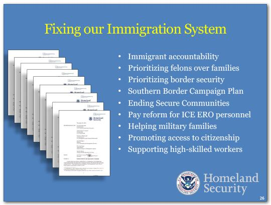 Ways we are fixing our immigration system include: Immigrant accountability, Prioritizing felons over families, Prioritizing border security, Southern Border Campaign Plan, Ending Secure Communities, Pay reform for ICE ERO personnel, Helping military families, Promoting access to citizenship and Supporting high-skilled workers.